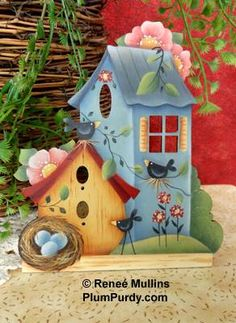Summertime Home (Nightlight/Ornament Kit) Arte Country, Country Crafts, Decoupage Vintage, Tole Painting, Ceramic Painting, Birdhouse Designs, Bird Houses Painted, Country Paintings, Hand Painted Ceramics