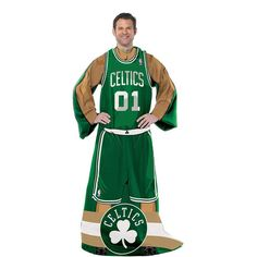 Boston Celtics NBA Adult Uniform Comfy Throw Blanket w/ Sleeves