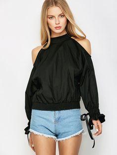 Ruff Collar Cold Shoulder Blouse #men, #hats, #watches, #belts, #fashion - women's blouses short sleeve, womens dress blouses, white chiffon button down blouse *ad