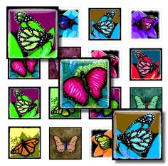Printable Digital Download 1x1 inch Pendants Earrings Magnets Jewelry Collage Sheet 44 butterfly L.Dumas by DigitalsbyLucie on Etsy