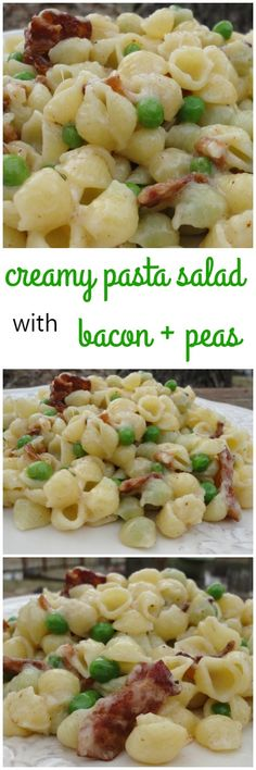 Creamy Mini Shell Pasta Salad with Bacon and Peas - A quick and easy weeknight dinner recipe on basilmomma.com
