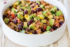 6-Ingredient Mexican-Style Quinoa Salad with Dry Quinoa, Black Beans, Salsa, Corn Kernels, Chili Powder, Avocado.
