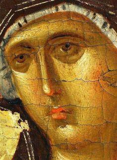 Mother of God / icon / detail Religious Images, Religious Icons, Religious Art, Byzantine Icons, Byzantine Art, Greek Mythology Art, Roman Mythology, Archangel Raphael, Christian Religions
