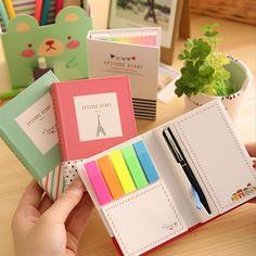 Criativo de capa dura notepad sticky notes memo pad post it kawaii papelaria…                                                                                                                                                                                 Mais