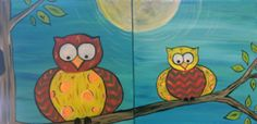 Mommy & Me - Owl Stand by You Families come in all shapes and sizes! Paint these cute owls on two 10X10 canvases. Mommy or Daddy paint one canvas and child paints the other!