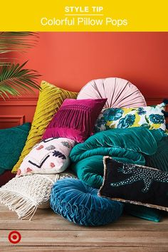Easy decor idea: colorful throw pillows! DIY decorating for the living room in your home or apartment.