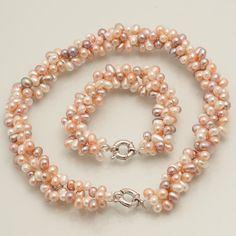 3 Strand Woven Potato Bead Necklace and Bracelet