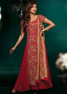 Priyanka Chopra Red Georgette Double Layered Abaya Style Salwar Kameez Online Shopping : 454SL06