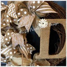 Burlap Wreath - Grapevine Wreath - Monogram Wreath - Summer Wreath