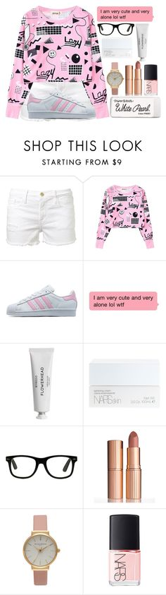 """""""school"""" by lipsy-look ❤ liked on Polyvore featuring Frame Denim, adidas Originals, Byredo, NARS Cosmetics, Charlotte Tilbury, Olivia Burton and Paper Mate"""