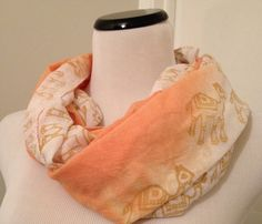 HiMaNi Muslin Cotton Scarf Oblong Orange Peach White Camel Print Ombre
