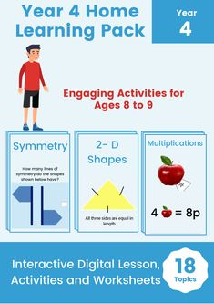 Engage your learners with this completely interactive Digital Home Learning Pack with tons of printable worksheet. This pack contains all the Year 4 programme of study directly mapped to the British National Curriculum. Maths Resources, Free Math Worksheets, Kindergarten Math Worksheets, Interactive Activities, Printable Worksheets, Free Printables, Creative Teaching, Teaching Ideas, Year 4 Maths