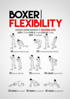 Boxer Flexibility is a Darebee themed week boxer workout. Boxing Training Workout, Boxer Workout, Mma Workout, Kickboxing Workout, Mma Training, Boxing Workout With Bag, Boxing Workout Routine, Punching Bag Workout, Boxer Training