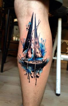 Ship tattoo/water color