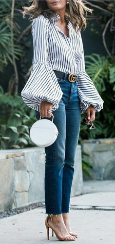 summer outfits  Striped Blouse + Skinny Jeans