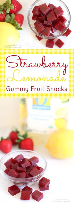 Make your own healthy DIY Homemade Strawberry Lemonade Gummy Fruit Snacks - just 3 ingredients and 10 minutes! Great lunchbox treat for the kids! Your kids are going to LOVE seeing these healthy strawberry lemonade Fruit Recipes, Baby Food Recipes, Snack Recipes, Healthy Recipes, Cake Recipes, Cooking Recipes, Gummy Fruit Snacks, Eat Fruit, Homemade Jello