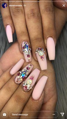 #nails #acrylics #rhinestones #pinknails