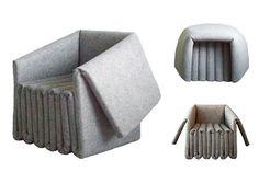 Designer: Ben Ryuki Miyagi. Industrial Felt Folding Chair