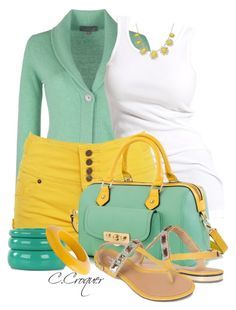 """Mint&Yellow"" by ccroquer ❤ liked on Polyvore"
