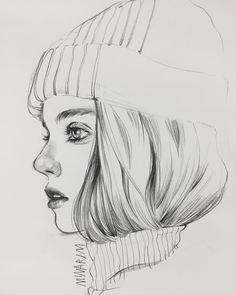 New Art Sketches Girl Drawing Sketches, Girly Drawings, Dark Art Drawings, Portrait Sketches, Pencil Art Drawings, Cool Drawings, Pencil Sketches Easy, Sketch Art, Art Drawings Beautiful