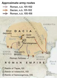 Map of the routes Roman and Dacian armies took during the Dacian Wars In Ancient Times, Ancient Rome, Ancient History, History Page, History Photos, Roman Empire Map, History Of Romania, Romania Map, Romanian Revolution