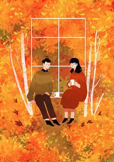 창가에 앉아 Illustration Story, Autumn Illustration, Couple Illustration, Illustrations, Graphic Design Illustration, Fall Drawings, Pretty Drawings, Amazing Drawings, Colorful Drawings