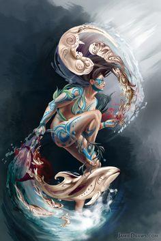 Sedna: Inuit Goddess of the Sea Art Print by Jamie Strassenburg - X-Small Goddess Tattoo, Goddess Art, Character Inspiration, Character Art, Goddess Of The Sea, Folklore, Sea Tattoo, Mermaid Pictures, Maori Art