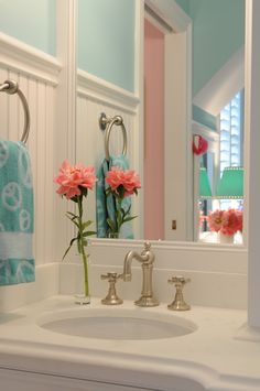 House of Turquoise: Exactly what I need to do with my beach house bath.