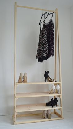 Handmade Natural Wood Clothes Rack Clothes Rail with 3