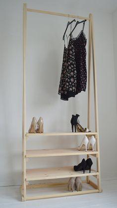 Handarbeit Naturholz Kleiderständer Kleiderstange mit 3