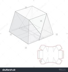 Fold Over Box With Tear Off Strip With Blueprint Die Line Stock Vector Illustration 307156787 : Shutterstock