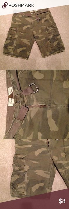 Men's Camo Cargo Shorts Men's Camo Cargo Shorts. Belt included. Plucc Shorts Cargo
