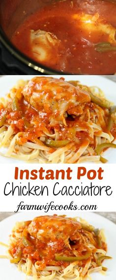 Instant Pot Chicken Cacciatore is an easy classic Italian dish that can be made quickly in your electric pressure cooker. Recipe also includes crock pot instructions. #InstantPot #Pasta