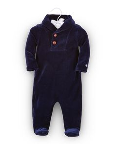 Footed Velour Coverall, Size 3-9 Months