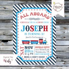 """ChooChoo Train Birthday Invitation // Red, White, and Blue // 5""""x7"""" // Personalized Printable Invitation by AsterLaneDesign on Etsy https://www.etsy.com/listing/573214233/choochoo-train-birthday-invitation-red"""