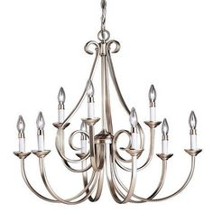 Kichler Dover 9 Light 33  Wide Candle-Style 2-Tier Chandelier - Brushed Nickel