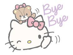 Sticker Line Hello Kitty (with Tiny Chum) หมีน้อย Tiny Chum bye bye