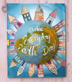 Earth Day Mixed Media Globe Canvas -- Turn Earth Day into a mixed media recycling project  #decoartprojects