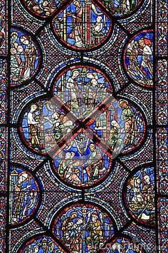 chartres cathedral stained glass | Chartres - Cathedral, Stained Glass Stock Photo - Image: 26671180 #StainedGlassChurch