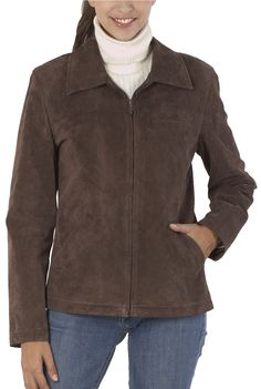 If you don't like wearing coats because they are bulky and you can't move around in them, then consider getting a BGSD Women's Suede Leather Jacket.  This brown suede leather jacket gives you the freedom to move, while keeping you warm.  This casual yet sophisticated jacket is very trendy and it would look great with a pair of suede boots.  $99.99  http://www.luxurylane.com/415-181273-brn.html