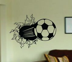 WORLD CUP Special Soccer Ball Bursting Through by Decals4YourWalls, $23.00