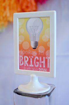 Bright Future themed graduation party for a Girl via Kara's Party Ideas KarasPartyIdeas.com Cake, decor, printables, favors, etc! #graduationparty #girlygraduationparty #lightbulb (18)