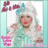 ♥♥ SPLIT MINT & WHITE LOLITA ♥♥    Elodie's magnificent minty coordinate is topped off with our new mint & white split wig. She swapped the ponytails in this photo for a little variety. Wig is available here:     Photo: Model Book Shooting Studio