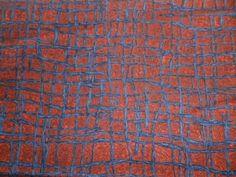 Vintage-1950s-Crisp-Cotton-Fabric-Cross-Hatch-Twigs-Design-in-Grey-Rust-Red