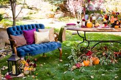 A stunning Fall Shoot! Absolutely LOVE how our pillows turned out against this beautiful blue velvet couch Thanksgiving Wedding, Thanksgiving Fashion, Wedding Table, Fall Wedding, Blue Velvet Couch, Outdoor Furniture Sets, Outdoor Decor, Menu Cards, Fall Flowers