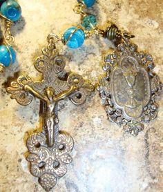 Catholic Rosary Beads   Antique Blue Jasper Catholic Wire Wrapped Rosary Beads   JMBJEWELS ...