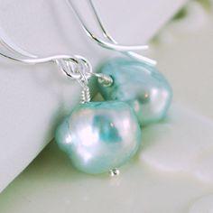 Aqua Freshwater Pearl Earrings Sterling Silver Jewelry