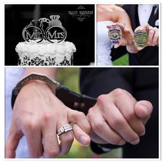 Police Officer wedding, handcuffs & badges, so cute :)