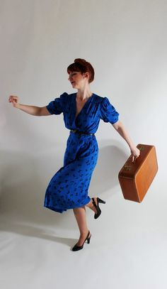 New! Swing Into Spring In This Royal Blue Dress  Sale Royal Blue Dress Polka Dot Fashion 80s Does by gogovintage, $38.00