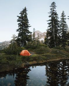 Camping on the shore of Gem Lake in the Central Cascades of Washington.